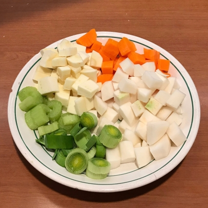 Vegetables for Turkey Matzo Ball Soup