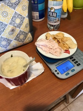 3 Smartpoints It was a great tip from Regina to add a spoonful of nonfat Greek Yogurt to the soup it made it creamy and so tasty!